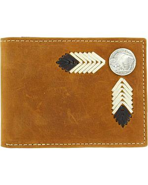 Nocona Buffalo Concho Leather Laced Bi-Fold Wallet