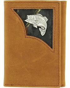 Nocona Camo Inlay w/ Bass Concho Tri-fold Wallet