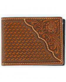 Nocona Basketweave w/ Tooled Overlay Bi-fold Wallet