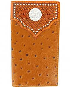Nocona Studded Basketweave Overlay Ostrich Print Rodeo Wallet