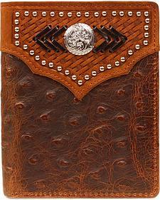 Nocona Studded Basketweave Overlay Ostrich Print Bi-fold Wallet