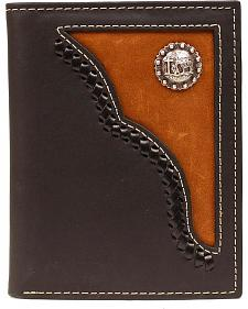 Nocona Brown Leather Inlay w/ Cowboy Prayer Concho Bi-fold Wallet