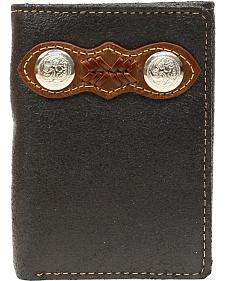 Nocona Leather Laced w/ Two Conchos Overlay Tri-fold Wallet