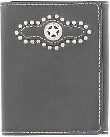 Nocona Studded Overlay w/ Star Concho Tri-fold Wallet