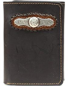 Nocona Laced Bar Concho Tri-fold Wallet
