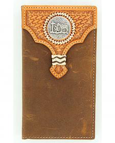 Nocona Basketweave Leather Overlay Cowboy Prayer Concho Rodeo Wallet