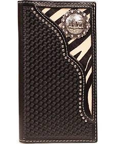 Nocona Zebra Print Hair-on Hide Inlay w/ Cowboy Prayer Concho Rodeo Wallet