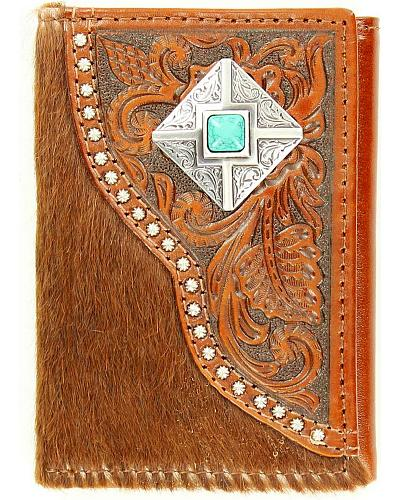 Nocona Faux Turquoise Concho Hair-on Hide & Tooled Overlay Tri-fold Wallet Western & Country N5462602