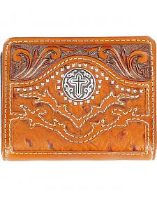 Nocona Tooled Overlay Ostrich Print Studded Cross Concho Bi-Fold Wallet