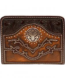 Nocona Tooled Overlay Cutout Studded Cross Concho Bi-Fold Wallet