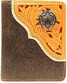 Nocona Crackle Tooled Overlay Cross Concho Bi-Fold Wallet