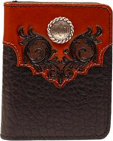 Nocona Embossed Leather Overlay with Concho Bi-Fold Wallet
