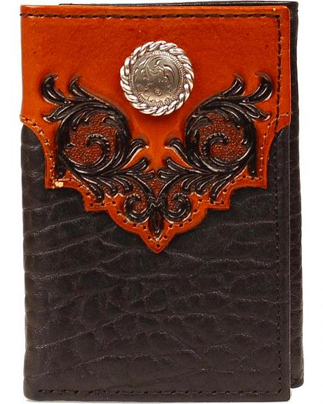 Nocona Fancy Embossed Leather Overlay Rodeo Wallet