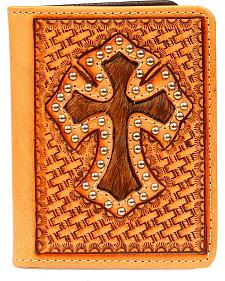 Nocona Basketweave Cross Cutout with Hair-on-Hide Inlay Bi-Fold Wallet