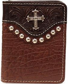 Nocona Tooled Overlay Studded Cross Concho Bi-Fold Wallet