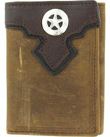 Nocona Distressed Leather Overlay & Star Concho Tri-fold Wallet