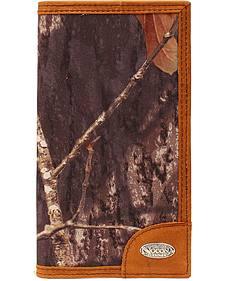 Nocona Mossy Oak Print Logo Concho Checkbook Wallet