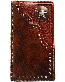 Nocona Basketweave & Hair-on-Hide Studded Rodeo Wallet