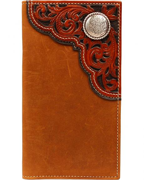 Nocona Tooled Overlay & Concho Rodeo Wallet