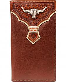 Nocona Basketweave Overlay Longhorn Concho Rodeo Wallet