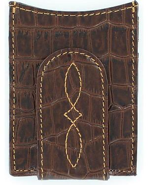 Nocona Croc Print Money Clip Wallet