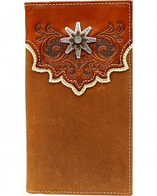 Nocona Tooled Overlay Rowel Concho Rodeo Wallet