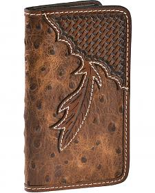 Tony Lama Ostrich Print with Basketweave Overlay Fold-Over iPhone 5/5S Case