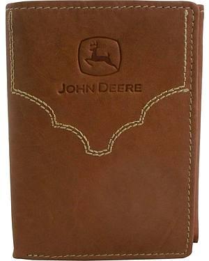 John Deere Crazyhorse Leather Tri-fold Wallet