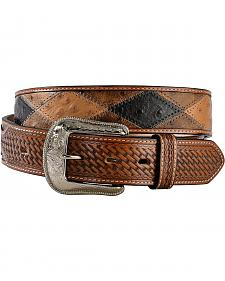 3D Ostrich Print Patchwork Leather Belt