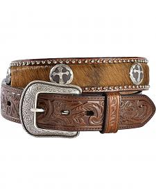 3D Cross Concho Hair-on-Hide Western Belt