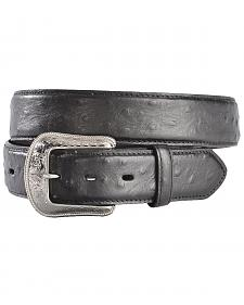 3D Black Ostrich Print Leather Belt