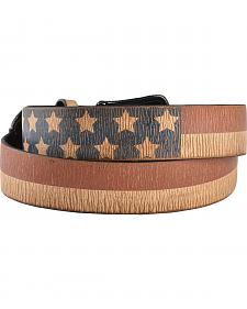 3D Distressed American Flag Printed Leather Belt