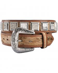 3D Fancy Concho Hair-on-Hide Leather Belt