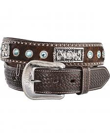 3D Fancy Concho & Rhinestone Hair-on-Hide Western Belt