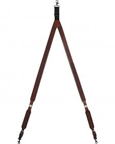 3D Basketweave Buffalo Concho Suspenders - Large