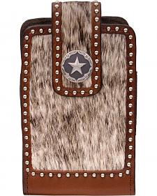 3D Brown Leather Hair-on-Hide Large Smartphone Holder