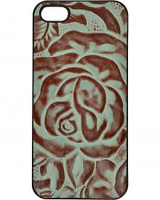 3D Turquoise Leather Rose iPhone 5/5s Snap-on Shell Case