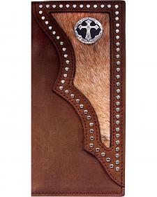 3D Dark Brown Hair-on-Hide Western Rodeo Wallet