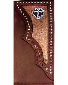 3D Dark Brown Hair-on-Hide Western Rodeo Wallet