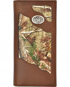 3D Badger Brown Leather Camo Inlay Buck Concho Outdoor Rodeo Wallet