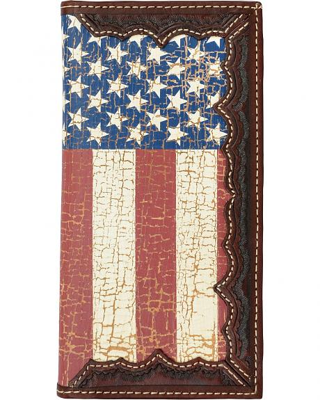 3D Brown Leather American Flag Rodeo Wallet