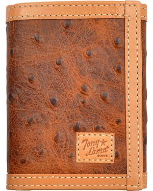 Tony Lama Trifold Rustic Brown Ostrich Print Wallet