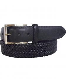 John Deere Braided Black Leather Belt