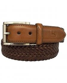 John Deere Braided Brown Leather Belt