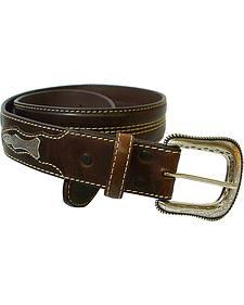 Roper Contrast Stitch Concho Leather Belt