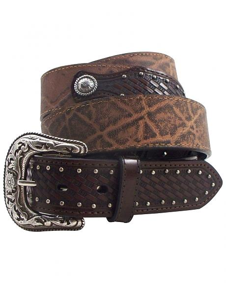 Roper Men's Elephant Print Basketweave Leather Concho Belt