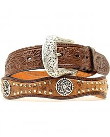 Nocona Studded Concho Ostrich Print Scalloped Leather Belt