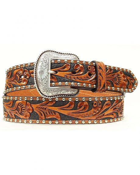 Nocona Tooled Hair-on-Hide Inlay Concho Belt