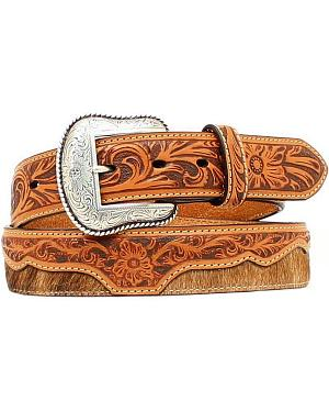 Nocona Floral Tooled Overlay Hair-on Hide Western Belt