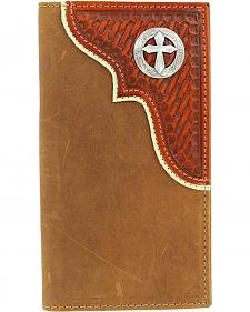 Nocona Basketweave Overlay w/ Cross Concho Rodeo Wallet